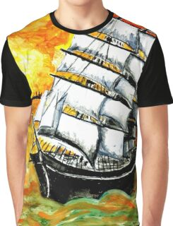 Frigate Ship at Sunset Graphic T-Shirt