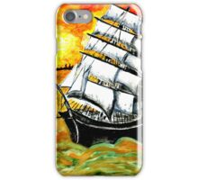 Frigate Ship at Sunset iPhone Case/Skin