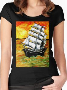 Frigate Ship at Sunset Women's Fitted Scoop T-Shirt