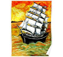 Frigate Ship at Sunset Poster