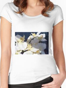 White plastic flowers. Women's Fitted Scoop T-Shirt