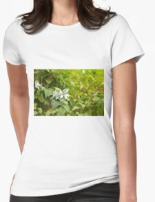 Sunny image with green leaves and small white flower. Womens Fitted T-Shirt