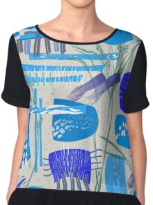Chaotic  Mid-Century Abstract Chiffon Top