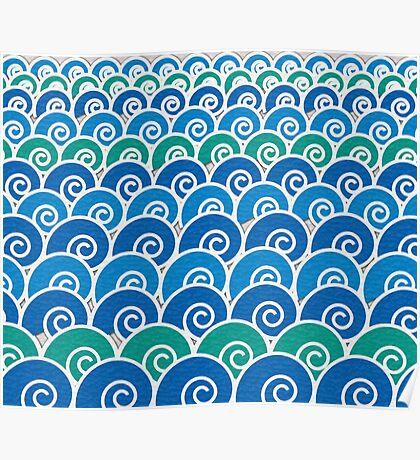 Blue Beach Waves Poster
