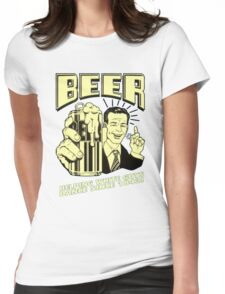 Old School Boy With Beer Womens Fitted T-Shirt