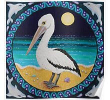 Pelican in the Moonlight Poster