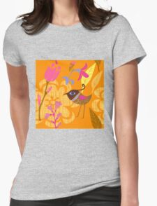 Lovely hand painted flowers birds Womens Fitted T-Shirt