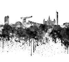 Glasgow skyline in black watercolor by paulrommer