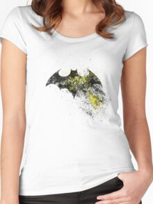 Bat Sign - in yellow, red and black Women's Fitted Scoop T-Shirt