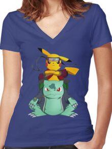 Pikuto! Women's Fitted V-Neck T-Shirt
