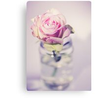 a beautiful pink rose in a glass vase, pastel color, vintage atmosphere Canvas Print