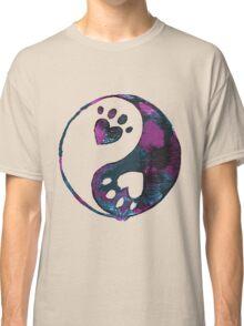Blue Yin-Yang Paw Watercolor Classic T-Shirt