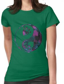 Blue Yin-Yang Paw Watercolor Womens Fitted T-Shirt
