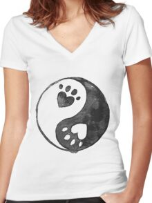 Black Yin-Yang Paw Watercolor Women's Fitted V-Neck T-Shirt