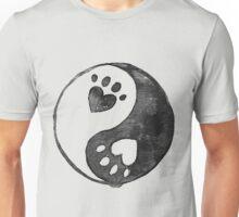 Black Yin-Yang Paw Watercolor Unisex T-Shirt