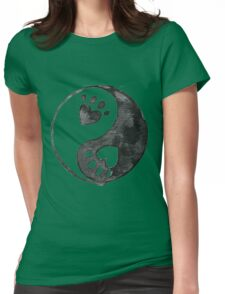 Black Yin-Yang Paw Watercolor Womens Fitted T-Shirt