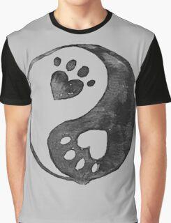 Black Yin-Yang Paw Watercolor Graphic T-Shirt