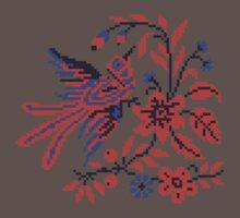 Cross-stitch folklore Charm bird on twig of flower One Piece - Short Sleeve