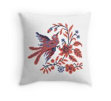 Cross-stitch folklore Charm bird on twig of flower Throw Pillow