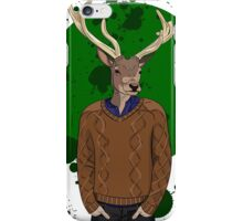 Deer man in brown sweater on green background iPhone Case/Skin