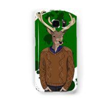 Deer man in brown sweater on green background Samsung Galaxy Case/Skin