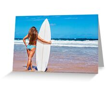 Sexy Young Woman Posing on Beach with Surf Board Greeting Card