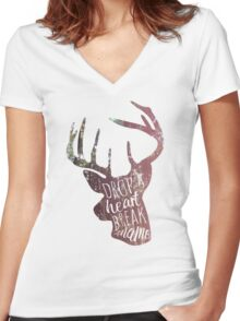 drop a heart, break a name Women's Fitted V-Neck T-Shirt