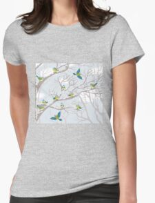 Winter snow tree birds background Womens Fitted T-Shirt