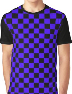 Blue and Black Checkers Graphic T-Shirt