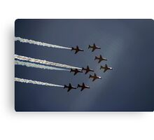 Red Arrows jets flying in formation Canvas Print