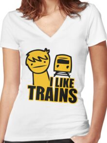 I Like Trains Women's Fitted V-Neck T-Shirt