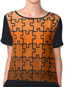Brown Puzzle Chiffon Top