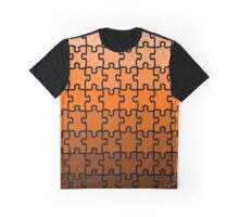 Brown Puzzle Graphic T-Shirt