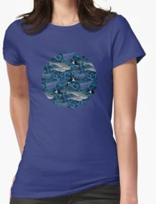 Beautiful Ocean Giants - teal Womens Fitted T-Shirt