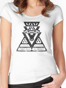 Connect With The Universe - Typography and Geometry Women's Fitted Scoop T-Shirt