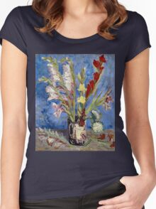 Vincent van Gogh Vase of Gladioli and Chinese Asters Women's Fitted Scoop T-Shirt