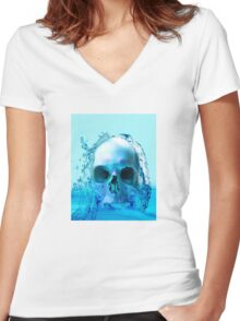 SKULL IN WATER Women's Fitted V-Neck T-Shirt