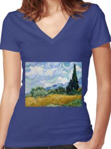 Vincent van Gogh Wheatfield with Cypresses Women's Fitted V-Neck T-Shirt