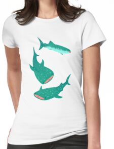 Teal Whale Shark Womens Fitted T-Shirt
