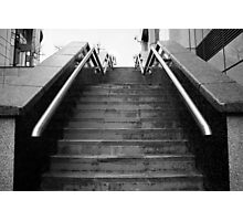 A Set Of Black And White Marble Stairs Photographic Print