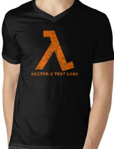 Lambda Orange Grunge Mens V-Neck T-Shirt