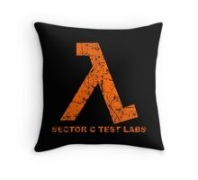 Lambda Orange Grunge Throw Pillow