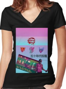 Hotline Miami wave graphic  Women's Fitted V-Neck T-Shirt