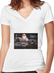 Fantasy sea Women's Fitted V-Neck T-Shirt
