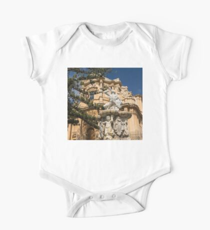 Noto Sicilian Baroque - Church of San Domenico on a Bright Sunny Day One Piece - Short Sleeve