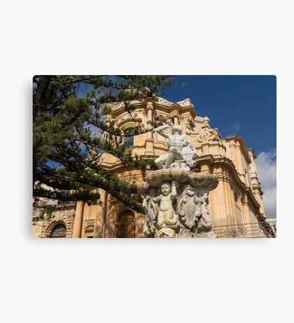 Noto Sicilian Baroque - Church of San Domenico on a Bright Sunny Day Canvas Print