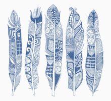 geo feathers blue Kids Tee