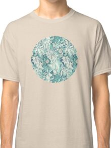 Fig Leaf Fancy - a pattern in teal and grey Classic T-Shirt