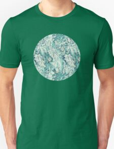 Fig Leaf Fancy - a pattern in teal and grey Unisex T-Shirt