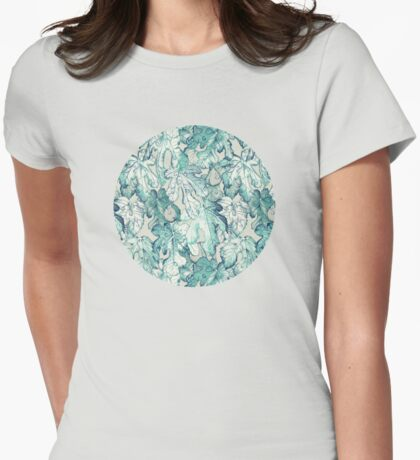 Fig Leaf Fancy - a pattern in teal and grey Womens Fitted T-Shirt